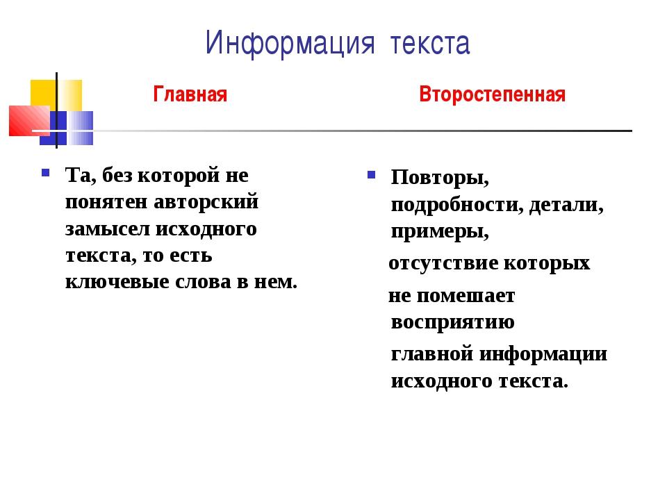 Информация текста Главная Та, без которой не понятен авторский замысел исходн...