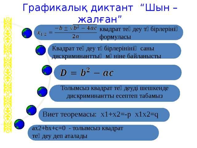 """Графикалық диктант """"Шын – жалған"""" квадрат теңдеу түбірлерінің формуласы ах2+..."""