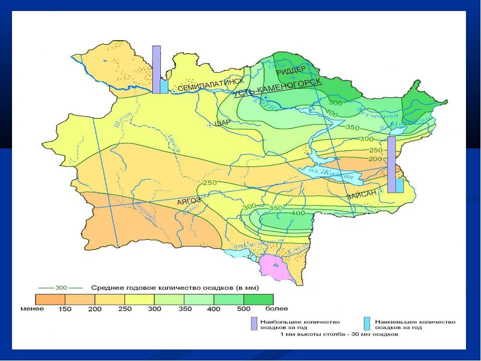 Среднее месячное и годовое количество атмосферных осадков, мм