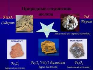 Природные соединения железа Fe FeS Пирит (железный или серный колчедан) FeCO