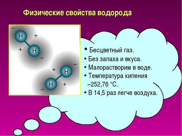 Физические свойства водорода Бесцветный газ. Без запаха и вкуса. Малораствори...