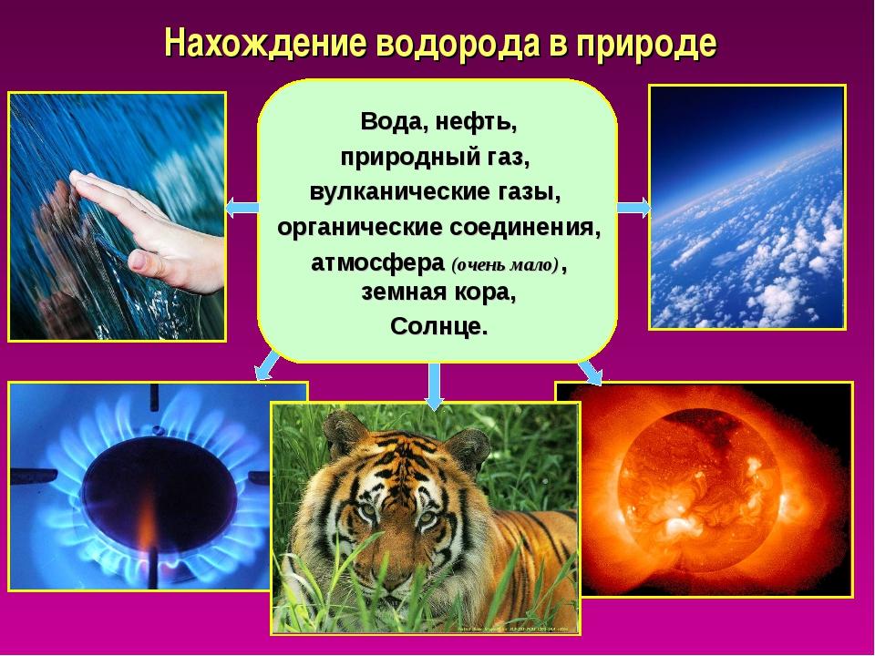 Нахождение водорода в природе Вода, нефть, природный газ, вулканические газы,...