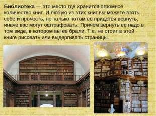 Библиотека— это место где хранится огромное количество книг. И любую из этих