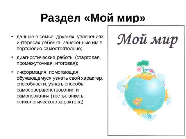 Раздел «Мой мир» данные о семье, друзьях, увлечениях, интересах ребенка, зане...