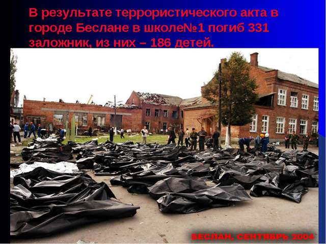 В результате террористического акта в городе Беслане в школе№1 погиб 331 зало...
