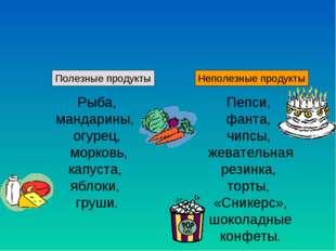 Полезные продукты Неполезные продукты Рыба, мандарины, огурец, морковь, капу