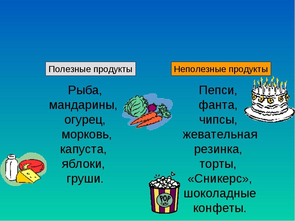 Полезные продукты Неполезные продукты Рыба, мандарины, огурец, морковь, капу...