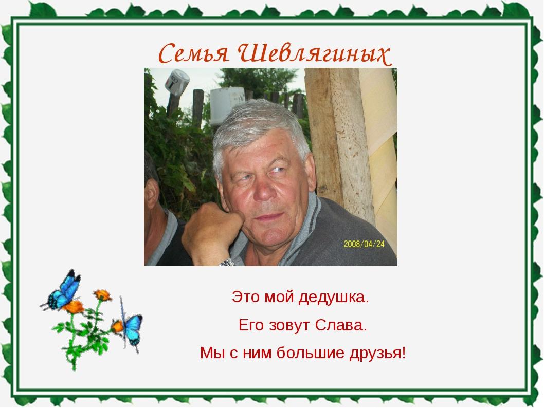 Семья Шевлягиных Это мой дедушка. Его зовут Слава. Мы с ним большие друзья!