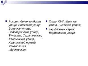 России: Ленинградская улица, Волжская улица, Вольская улица, Волгоградская ул