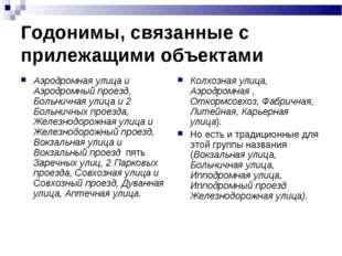 Годонимы, связанные с прилежащими объектами Аэродромная улица и Аэродромный п