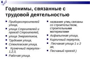 Годонимы, связанные с трудовой деятельностью Приборостроителей улица, улица С