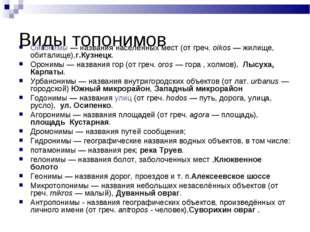 Виды топонимов Ойконимы — названия населённых мест (от греч. oikos — жилище,