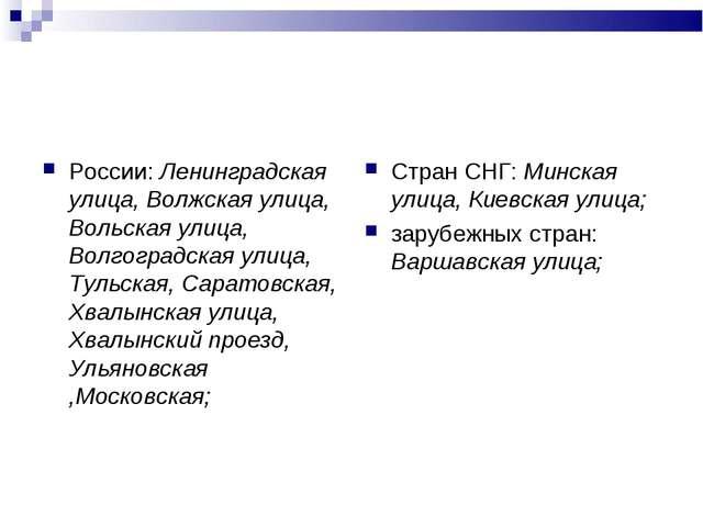 России: Ленинградская улица, Волжская улица, Вольская улица, Волгоградская ул...