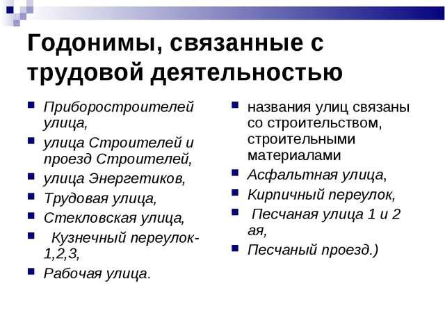 Годонимы, связанные с трудовой деятельностью Приборостроителей улица, улица С...