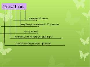 Тянь-Шань Геогафиялық орны Жер бедері,геологиялық құрылымы Ірі тау жүйесі Кли