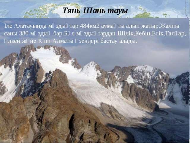 Тянь-Шань тауы Іле Алатауында мұздықтар 484км2 аумақты алып жатыр.Жалпы саны...