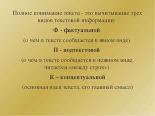 Полное понимание текста - это вычитывание трех видов текстовой информации: Ф