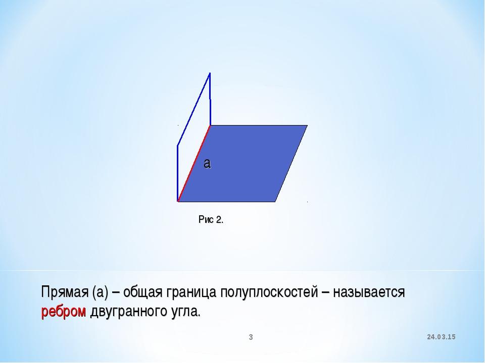 * * а Прямая (а) – общая граница полуплоскостей – называется ребром двугранно...