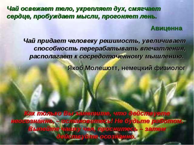 Чай придает человеку решимость, увеличивает способность перерабатывать впечат...