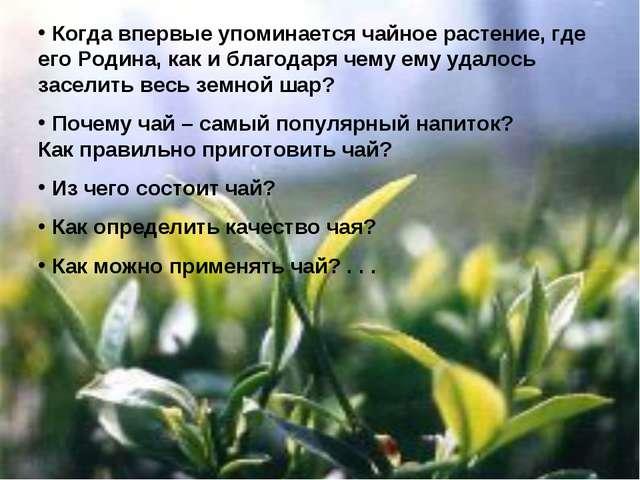 Когда впервые упоминается чайное растение, где его Родина, как и благодаря ч...