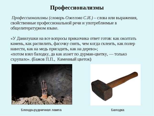 Профессионализмы (словарь Ожегова С.И.) – слова или выражения, свойственные...