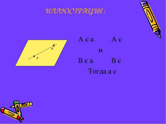 ИЛЛЮСТРАЦИЯ: А є a А є  и В є a В є   Тогда a є  а В А 
