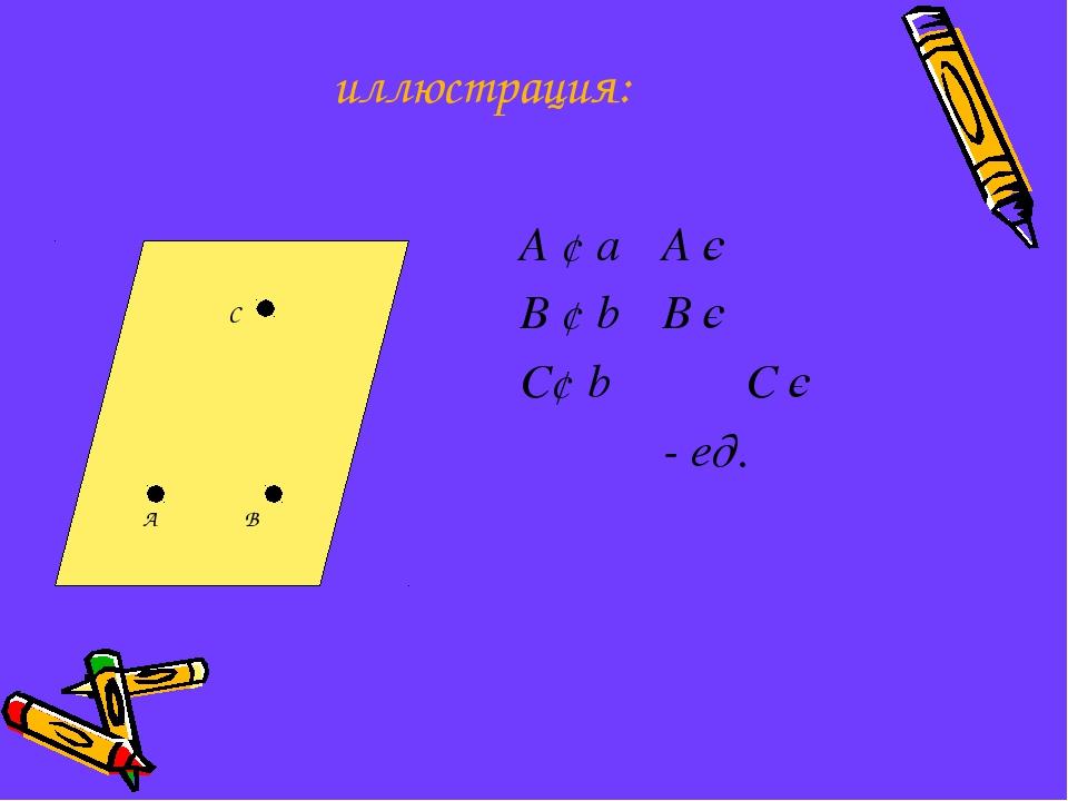 иллюстрация: А ¢ а А є  В ¢ b В є  С¢ b С є   - ед. С А В 