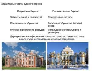 Характерные черты русского барокко Петровское барокко Елизаветинское барокко