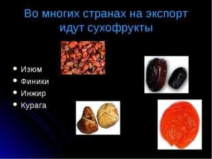 Во многих странах на экспорт идут сухофрукты Изюм Финики Инжир Курага