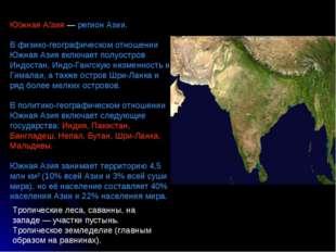 Ю́жная А́зия — регион Азии. В физико-географическом отношении Южная Азия вклю