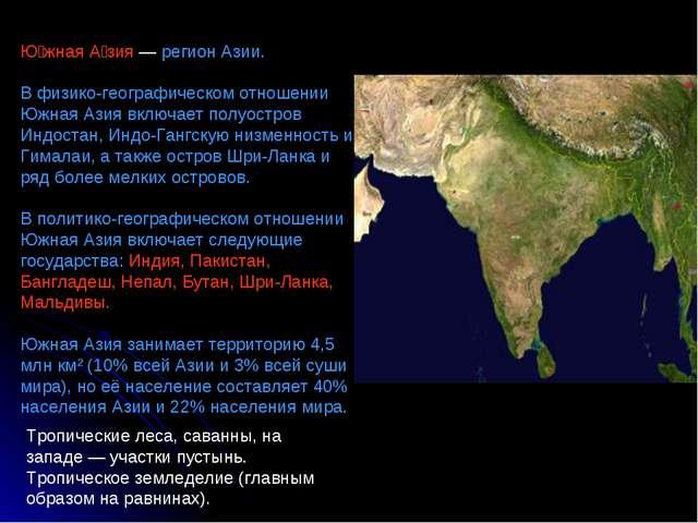 Ю́жная А́зия — регион Азии. В физико-географическом отношении Южная Азия вклю...