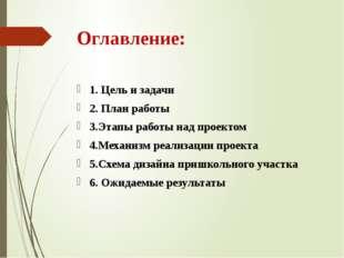 Оглавление: 1. Цель и задачи 2. План работы 3.Этапы работы над проектом 4.Мех
