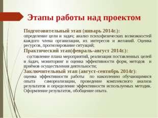 Этапы работы над проектом Подготовительный этап (январь 2014г.): определение