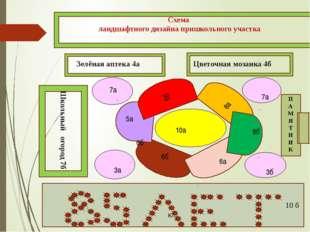 Схема ландшафтного дизайна пришкольного участка 10 б кл. Зелёная аптека 4а Цв