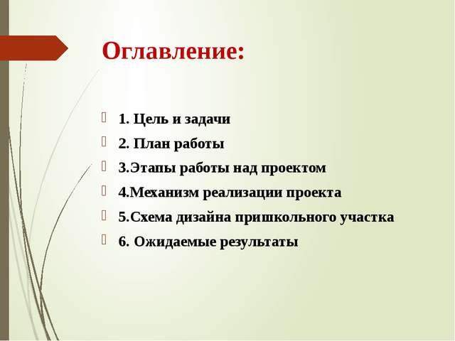 Оглавление: 1. Цель и задачи 2. План работы 3.Этапы работы над проектом 4.Мех...