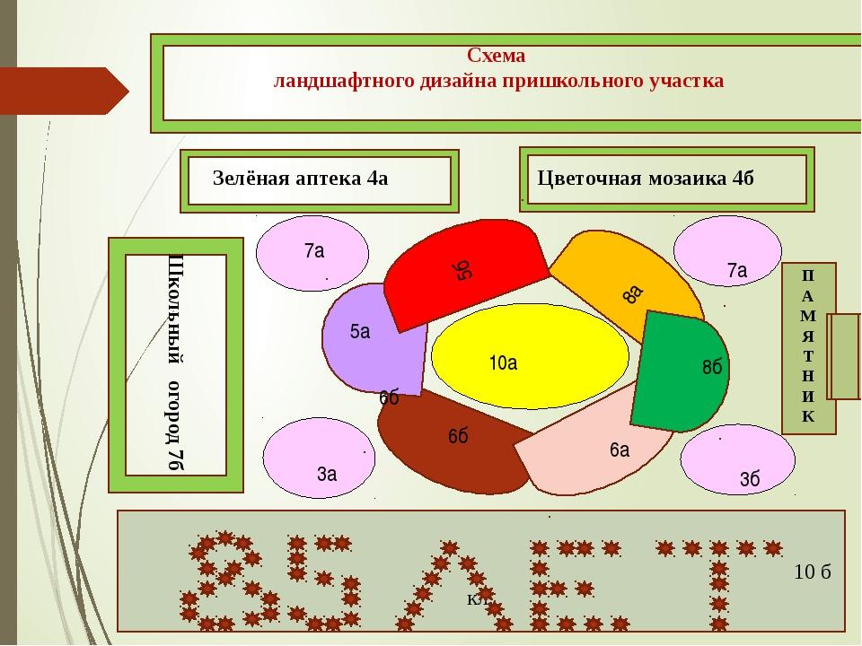 Схема ландшафтного дизайна пришкольного участка 10 б кл. Зелёная аптека 4а Цв...