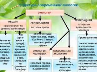 Структура современной экологии ОБЩАЯ (биоэкология) по уровням организации ГЕО