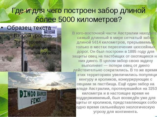 Где и для чего построен забор длиной более 5000 километров? В юго-восточной ч...