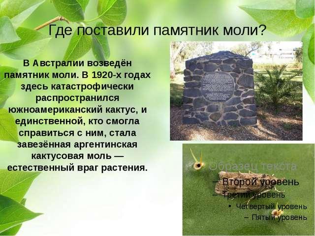 Где поставили памятник моли? В Австралии возведён памятник моли. В 1920-х год...