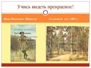 Иван Иванович Шишкин «Сосновый лес» 1887 г. Учись видеть прекрасное!