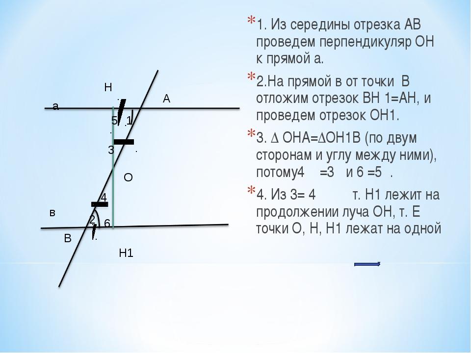 1. Из середины отрезка АВ проведем перпендикуляр ОН к прямой а. 2.На прямой в...