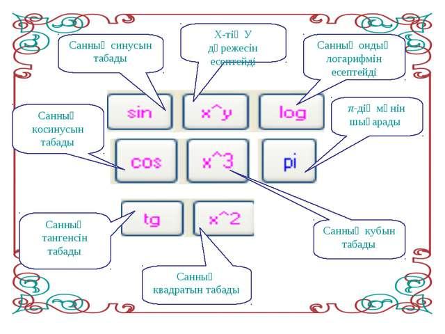 Санның синусын табады Х-тің У дәрежесін есептейді Санның ондық логарифмін есе...