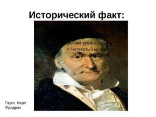 Исторический факт: Гаусс Карл Фридрих