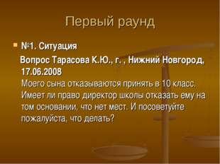 Первый раунд №1. Ситуация Вопрос Тарасова К.Ю., г. , Нижний Новгород, 17.06.2