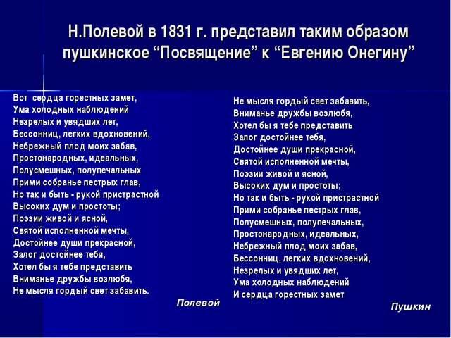 """Н.Полевой в 1831 г. представил таким образом пушкинское """"Посвящение"""" к """"Евген..."""