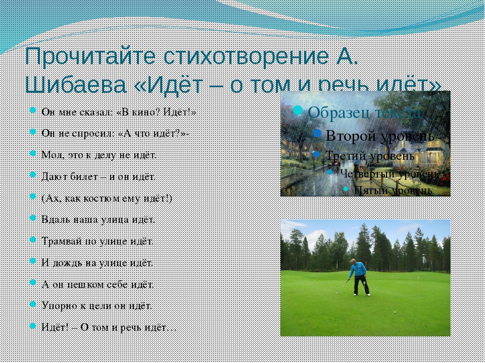 Прочитайте стихотворение А. Шибаева «Идёт – о том и речь идёт». Он мне сказал...