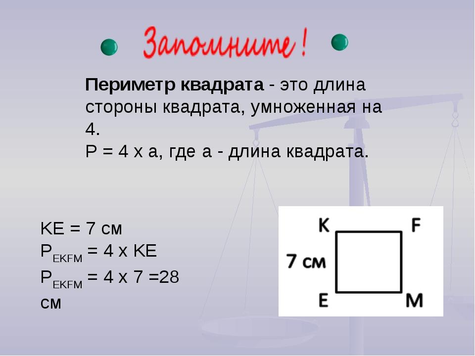 Периметр квадрата - это длина стороны квадрата, умноженная на 4. P = 4 x a, г...