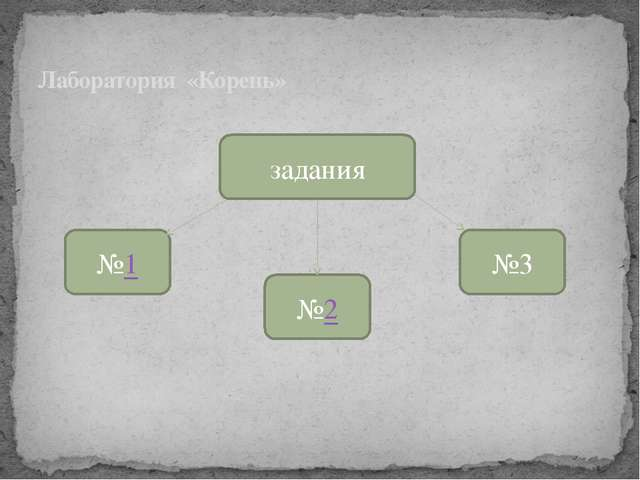 Лаборатория «Корень» задания №1 №2 №3