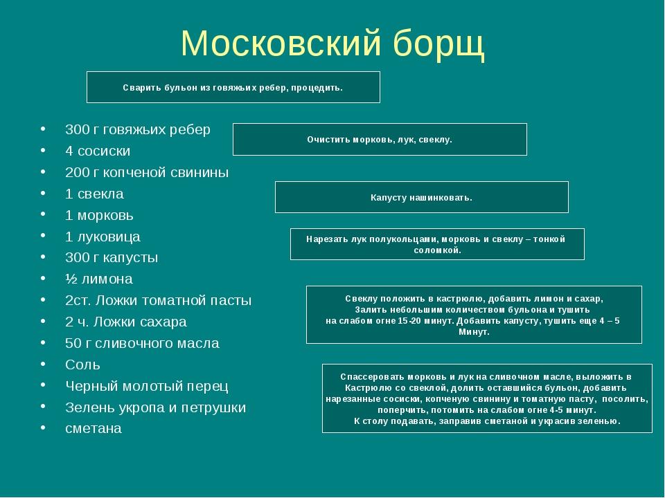 Московский борщ 300 г говяжьих ребер 4 сосиски 200 г копченой свинины 1 свекл...