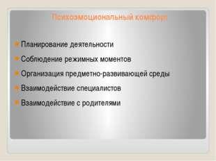 Психоэмоциональный комфорт Планирование деятельности Соблюдение режимных моме